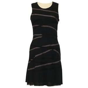 Cynthia Rowley black net dress with ribbon accents
